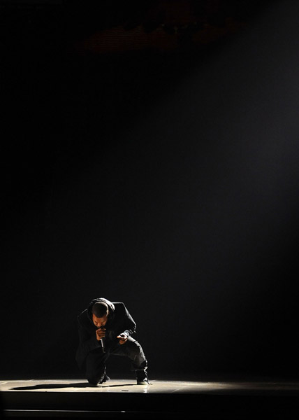 Kanye at the Grammy Awards Rappin' to Hey Mama