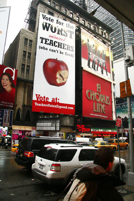 A picture I took of the Teachers Exposed ad in Times Square, NYC