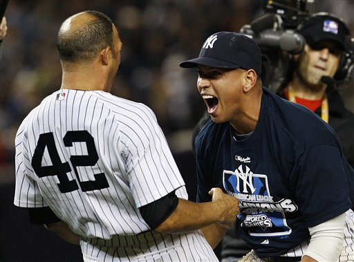 Alex Rodriguez Screaming With Mariano Rivera, Celebrates ALCS Win