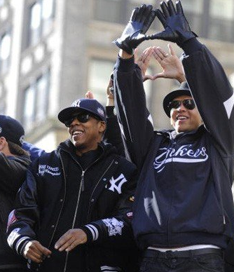 Alex Rodriguez and Jay-Z at the Yankees Victory Parade, 2009