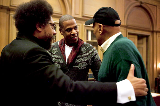 Jay-Z, Cornel West, and Harry Belafonte before Decoded Talk