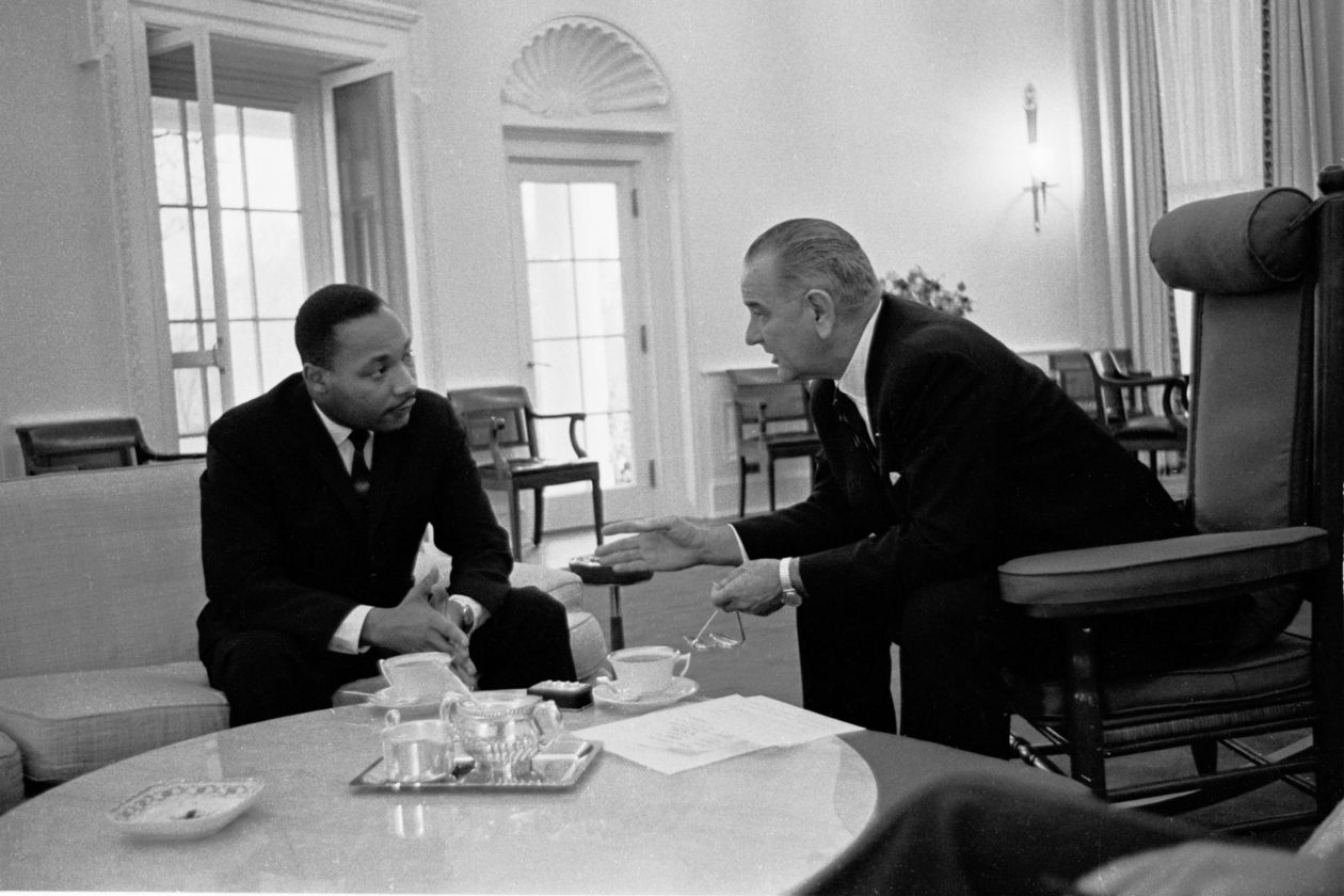 Martin Luther King Jr. and Lyndon B. Johnson
