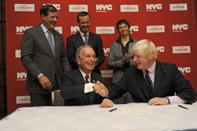 Mayor Mike Bloomberg of NYC with Mayor Boris Johnson of London