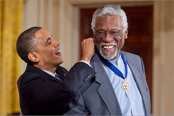 Barack Obama with Bill Russell