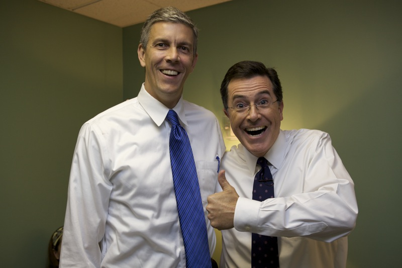 Secretary Arne Duncan and comedian Stephen Colbert, both of whose job I would do so much better at, but I'll stick to teaching anyways
