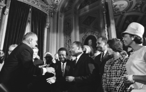 Lyndon Johnson and Martin Luther King Jr., Civil Rights Voting Act Signing
