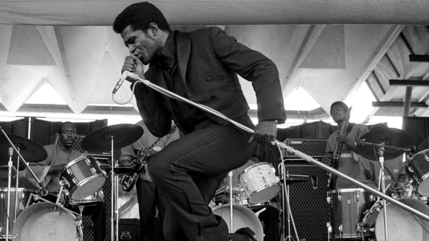NEWPORT, RI - JULY 6:  Godfather of soul James Brown performs onstage at the Newport Jazz Festival on July 6, 1969 in Newport, Rhode Island. (Photo by Tom Copi/Michael Ochs Archives/Getty Images)